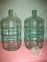 CARBOY GLASS WINE OR BEER MAKING JUGS AND BRUSH