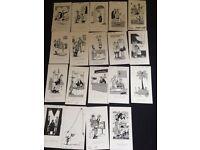 Rod Macleod cartoon drawings various 1979s