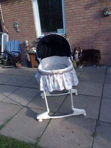Beautiful bassinet with stand and long black skirt London Ontario image 2