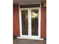 Upvc French doors with top box