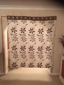 """Green and Taupe floral curtains 66"""" width 72"""" drop. Fully lined. Eyelet top."""
