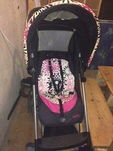 Evenflo stroller pink and black