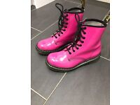 Pink patent Dr Martin Lace up boots , size 5