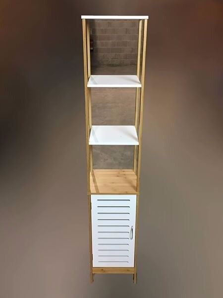 Tall bathroom cabinet 2 shelf 1 door white and bamboo effect