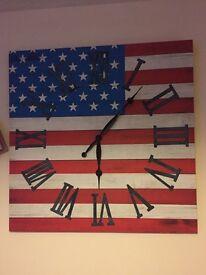 Large American Flag Canvas Clock
