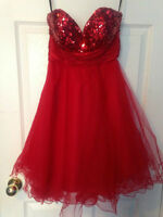 Ruby red prom dress.