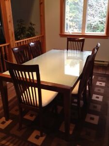 Dining Table 6 Chairs Frosted Glass