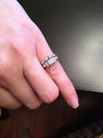 Womans engagement and wedding ring