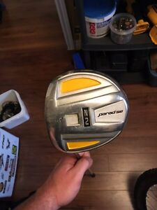 Left hand golf clubs. Driver, wood, irons