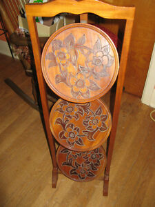 Antique Carved Wood Folding 3 Tier Pie  Stand Table