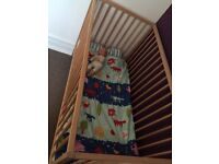IKEA cot with mattress and sheets