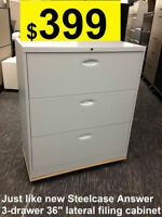 File Cabinet, Lateral Just like new Steelcase Answer 3-drawer 36