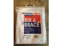"Men's, White Decorators Bib & Brace Size: 38"" Waist *Brand New*"