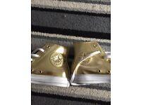 Gold metallic converse