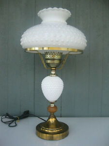 Bright Vintage Milk Glass Hobnail Electric Hurricane Table Lamp