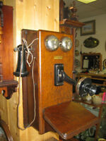 Vintage Oak Phone -- FROM PAST TIMES Antiques - 1178 Albert St