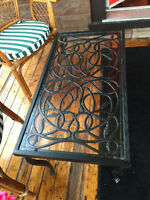 048: Very Heavy Wrought Iron and Aluminum Coffee Table