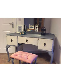 Solid upcycled antique look dressing table set in chalk anthracite finish