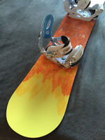 Burton Feather Snowboard 144 with bindings mint condition