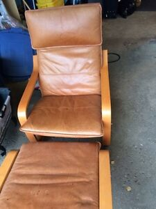 IKEA Poang leather chair with Ottoman