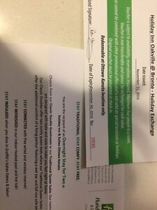 Gift cert for one night stay at the holiday inn and suites