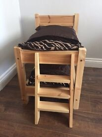 Cat small dog pine wooden bunk beds with ladder