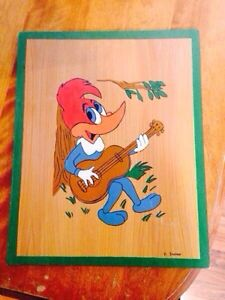 Signed Folk Art Painting on Wood of Woody Wood Pecker