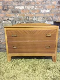 2 drawer chest of drawers, retro, vintage