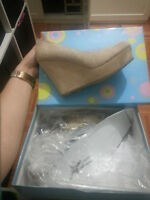 nude suede wedges size 7