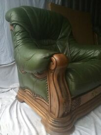 Green leather 3 piece suite, oak surround delivery available