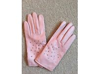 Real leather and silk pink gloves small-medium never worn