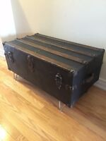 Antique Steamer Trunk - Flat /low profile- great Coffee Table