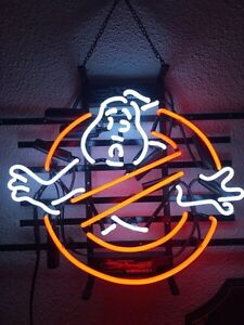 Ghostbusters real neon tube sign Garage Mancave Bar