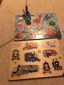 Melissa&Doug wooden puzzles: Thomas Tank Engine &magnetic fishing Darling Point Eastern Suburbs Preview