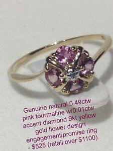 "Genuine diamond and pink tourmaline ""flower"" 9kt gold ring Windsor Region Ontario image 1"