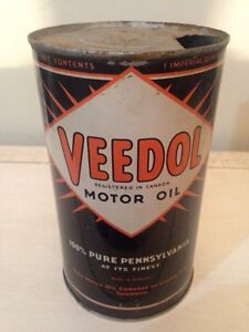 Great cond. Antique Veedol Motor Oil tin can gas pump sign