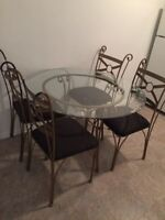 Glass dining set with 4 chairs