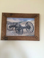 Custom Made Wood Frame With Western Picture
