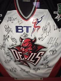 Signed and framed Cardiff devils ice hockey shirt