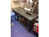 Stainless table and long shelf