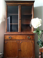 Antique Buffet Hutch Cabinet  Wood