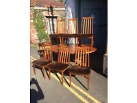 Retro G plan table and six chairs