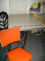 Chrome kitchen table with 3 chairs