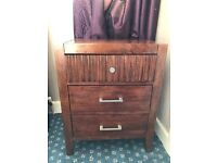 Two solid Oak wood bed side cabinets