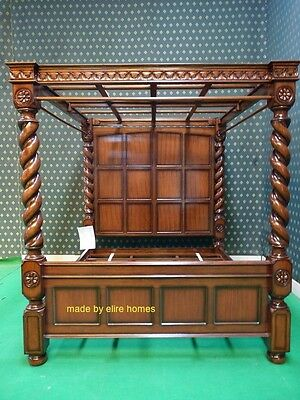 Used, UK STOCK~ UK King four poster canopy jacobean twisted column mahogany Tudor bed  for sale  Shipping to Canada