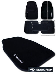 5 pcs SET NYLON CARPET FLOOR MATS with LOGO FOR MAZDA (BLACK)