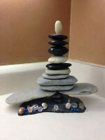 """Stone and Shells Sculpture - 8"""" high"""