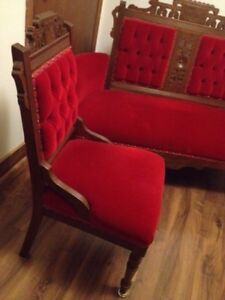 AWESOME! Antique Victorian Eastlake Settee & Chair