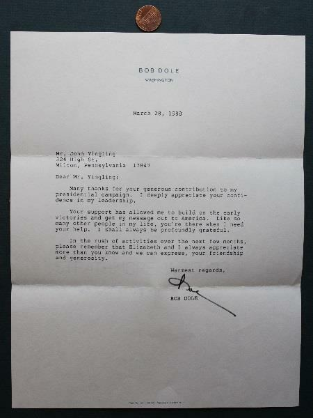 1988 Kansas Republican Presidential Candidate Bob Dole signed content letter-GOP