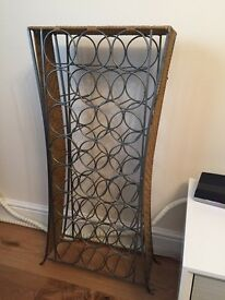 24 Bottle Floor-standing Metal and Wicker Wine Rack